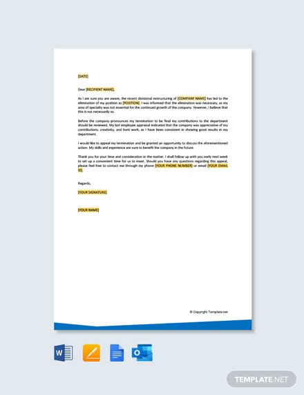 Free Appeal Letter For Termination Of Employment Template