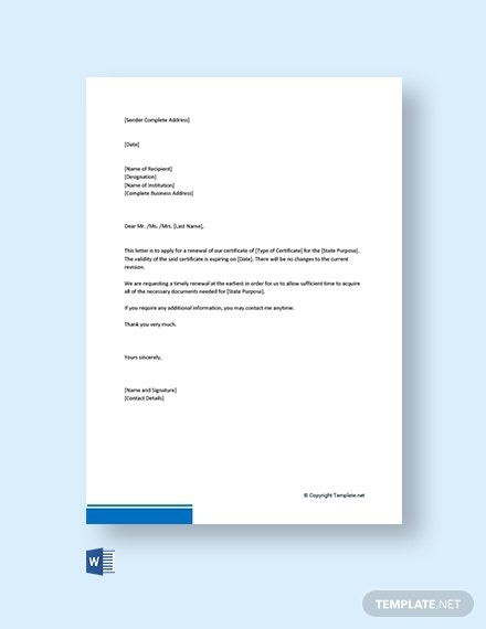 Free Application Letter For Renewal Of Certificate Template