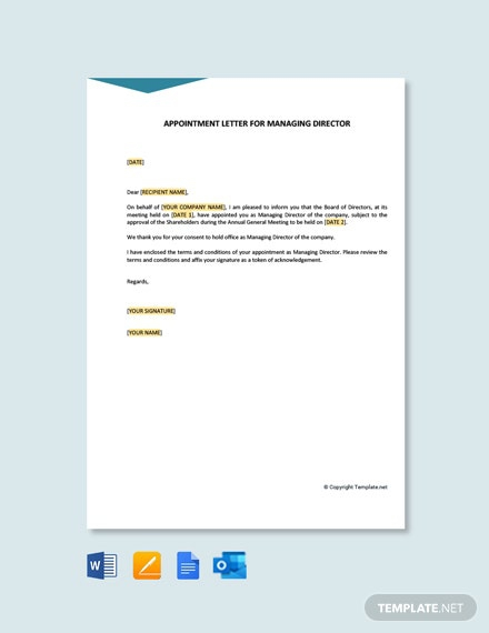 Free Appointment Letter For Managing Director Template