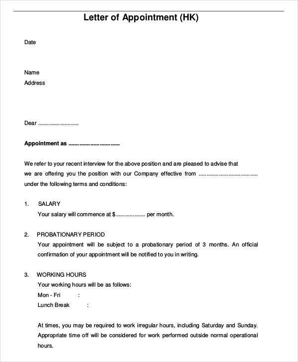 Free Appointment Letters