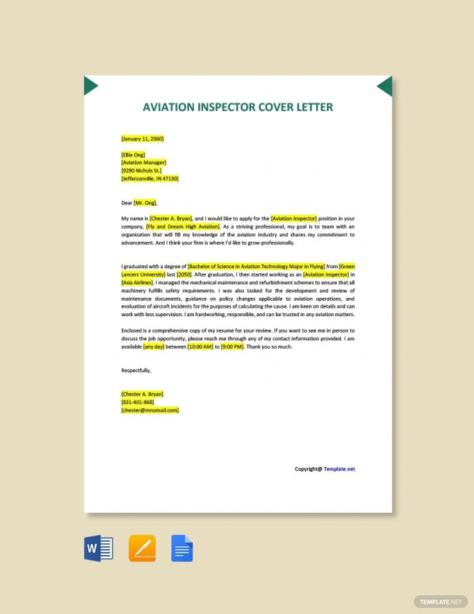 Free Aviation Inspector Cover Letter Template In
