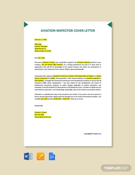 Free Aviation Inspector Job Description