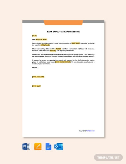 Free Bank Employee Transfer Letter Template