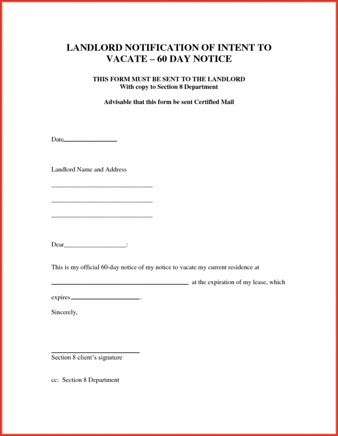 Free Best Of  Day Notice Letter To Landlord Template Job Latter