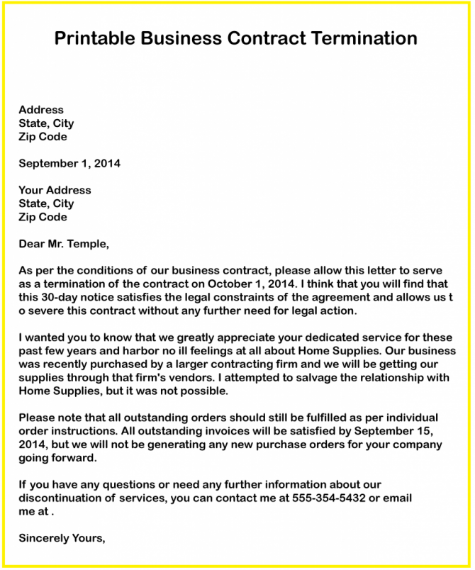 Free Business Contract Termination Letter Templates