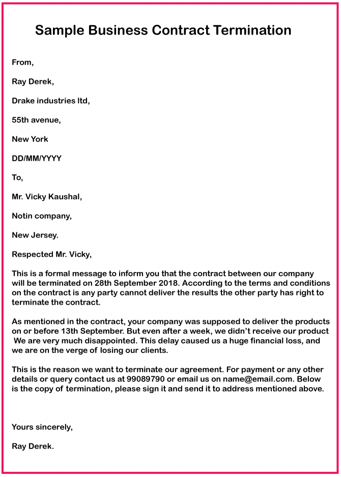 Free Business Contract Termination Letter With Example