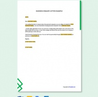 Business Inquiry Letter Example