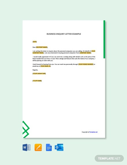 Free Business Inquiry Letter Example Template