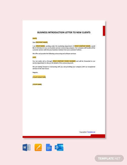 Free Business Introduction Letter To New Clients Template