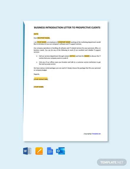 Free Business Introduction Letter To Prospective Clients Template
