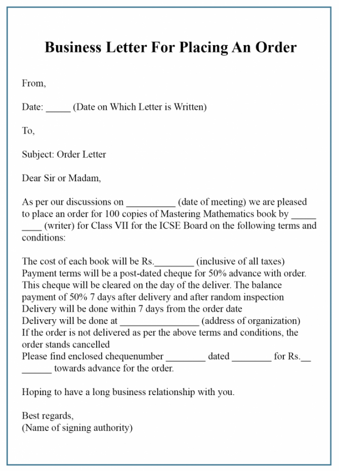 Free Business Letter For Order Template Sample