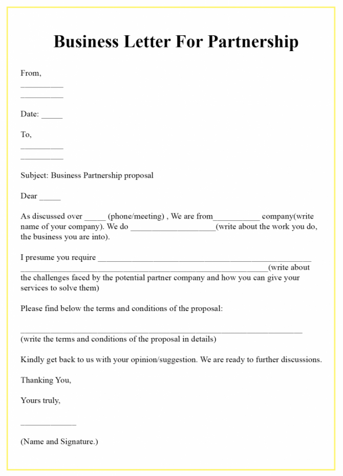 Free Business Letter For Partnership Template Sample
