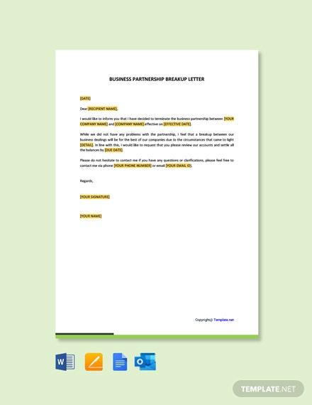 Free Business Partnership Breakup Letter Template