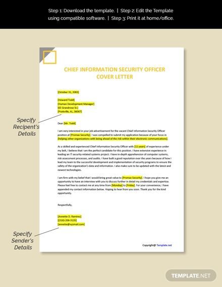 Free Chief Information Security Officer Cover Letter Template In