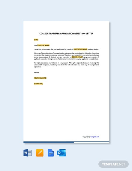 Free College Transfer Application Rejection Letter Template