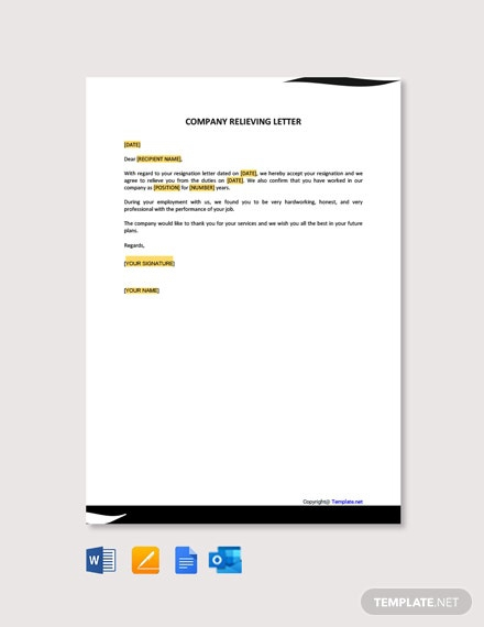 Free Company Relieving Letter Template