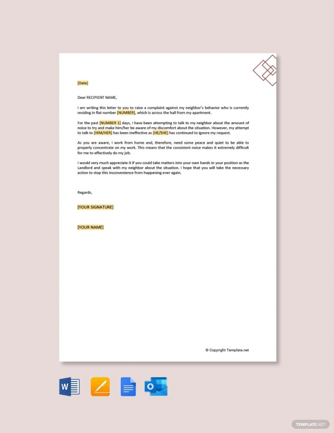 Free Complaint Letter To Landlord About Noisy Neighbors