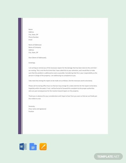 Free Complaint Letter To Landlord About Repair
