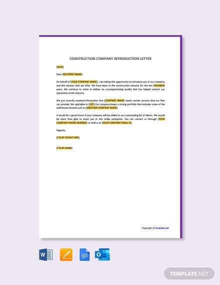 Free Construction Company Introduction Letter Template