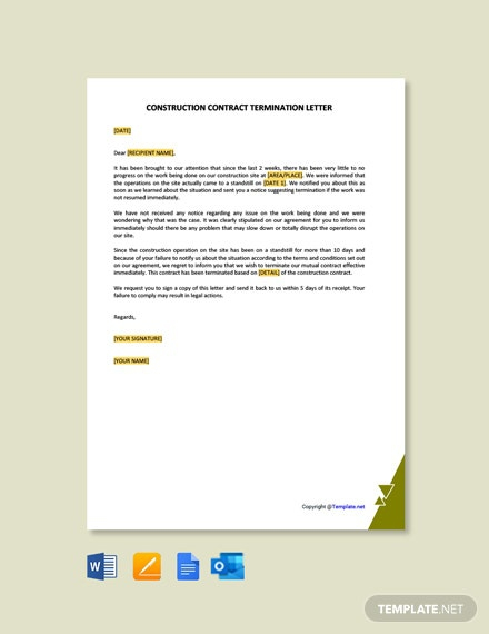 Free Construction Contract Termination Letter Template