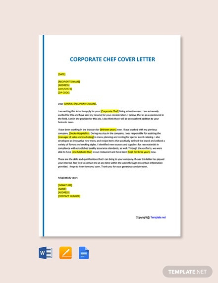 Free Corporate Chef Cover Letter