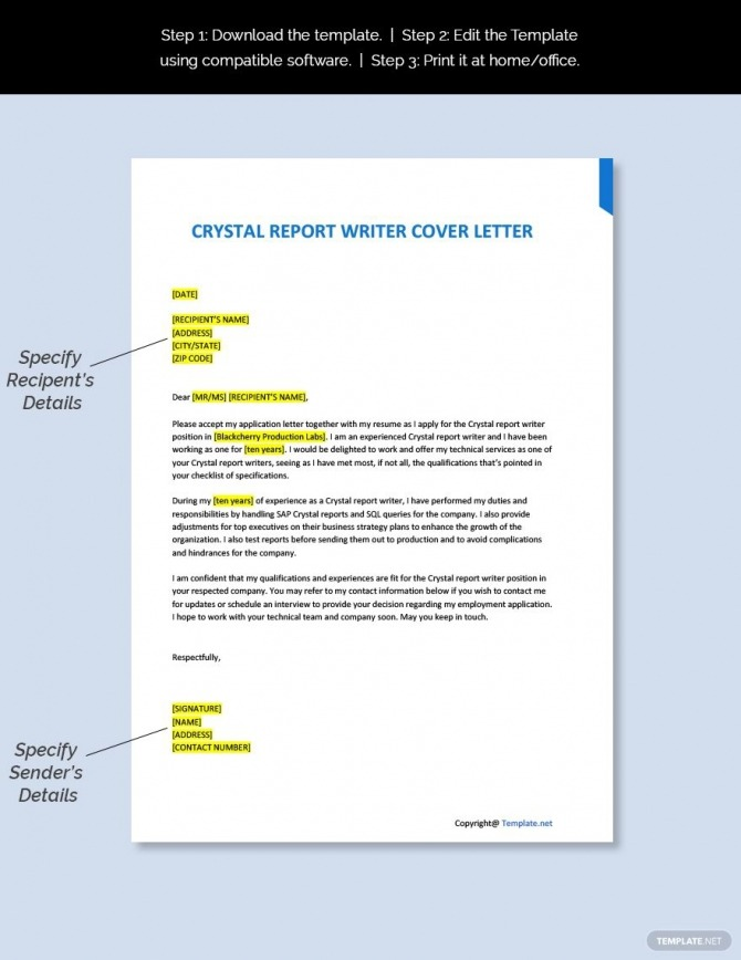 Free Crystal Report Writer Cover Letter