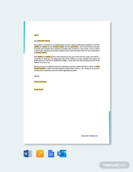 Free Day Care Termination Letter Template