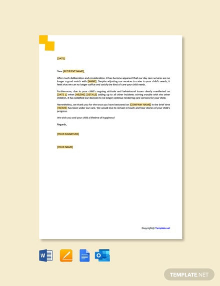 Free Daycare Termination Letter For Behavior Template