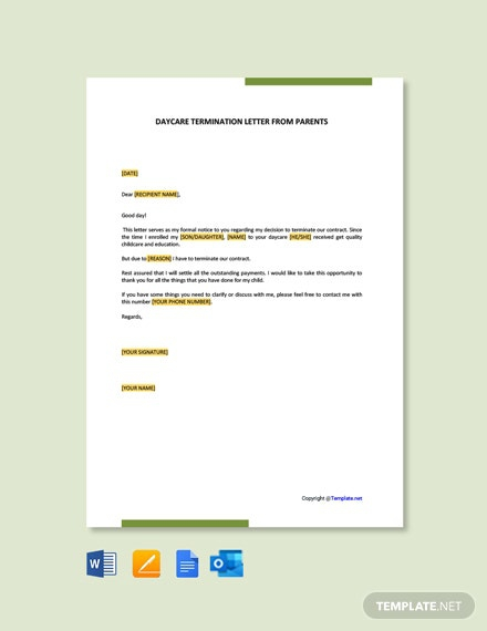 Free Daycare Termination Letter From Parents Template