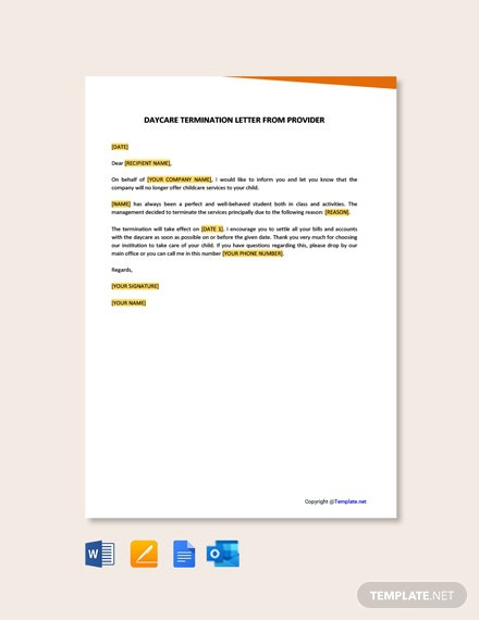 Free Daycare Termination Letter From Provider Template