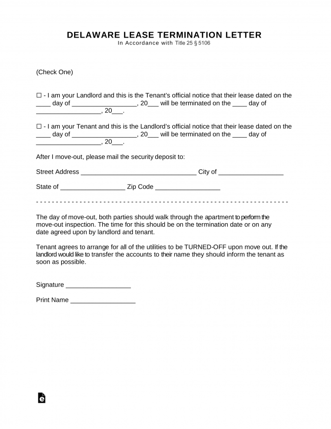 Free Delaware Lease Termination Letter Form