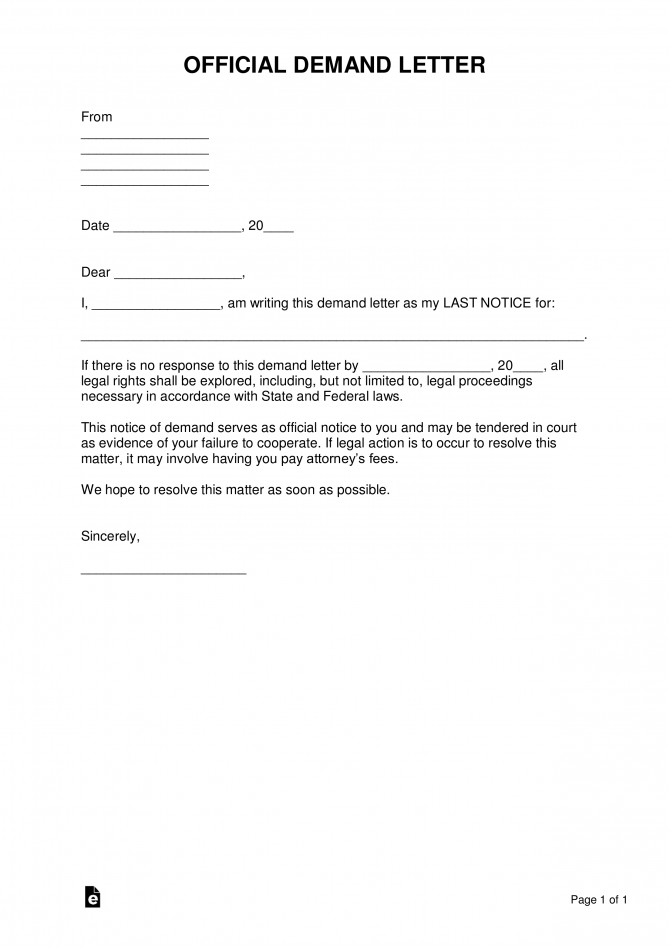 Free Demand Letter Templates