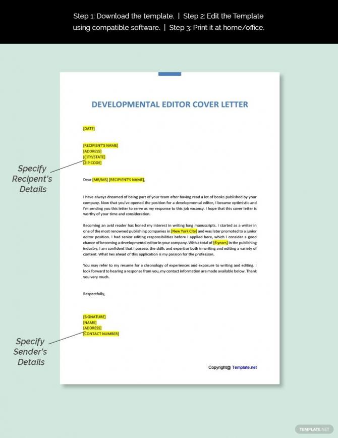 Free Developmental Editor Cover Letter
