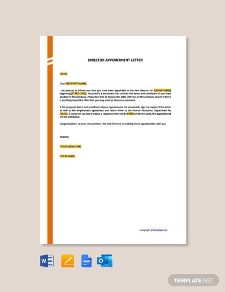 Free Director Appointment Letter Template