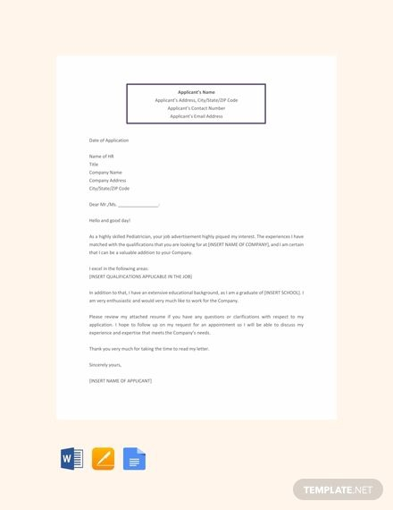 Free Doctor Job Application Letter Template In