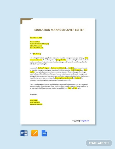 Free Education Manager Cover Letter Template