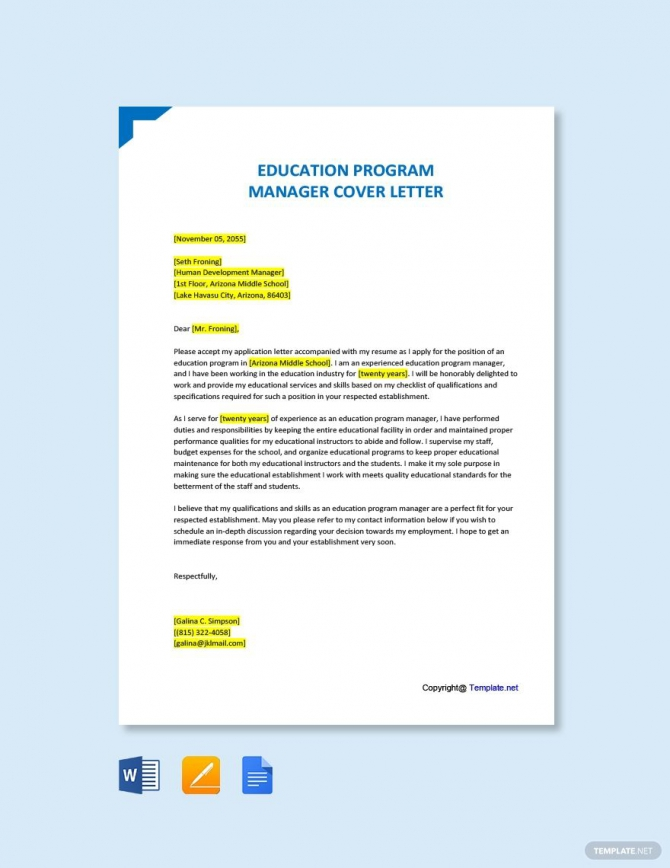 Free Education Program Manager Cover Letter Template In