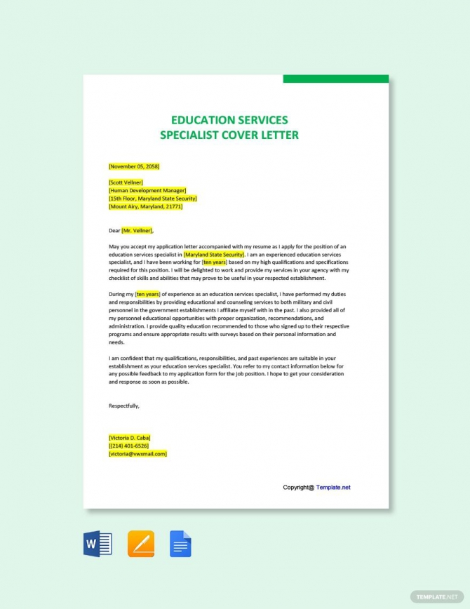 Free Education Services Specialist Cover Letter Template In