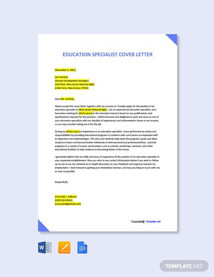 Free Education Specialist Cover Letter Template