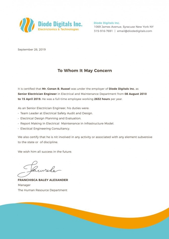 Free Electrician Experience Certificate Template