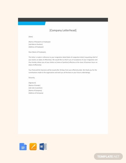 Free Employee Relieving Letter Format Template