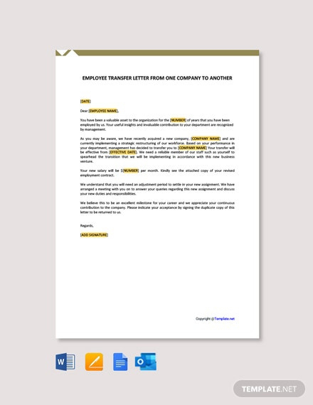 Free Employee Transfer Letter From One Company To Another Template