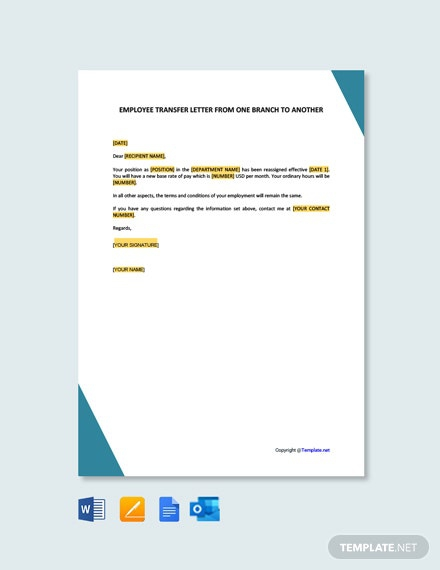Free Employee Transfer Letter One Branch Another Template