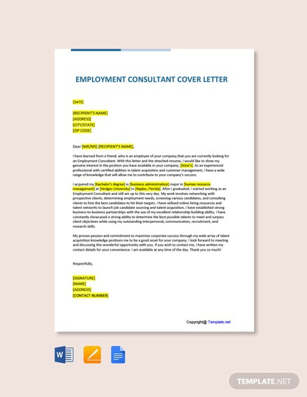 Free Employment Consultant Cover Letter