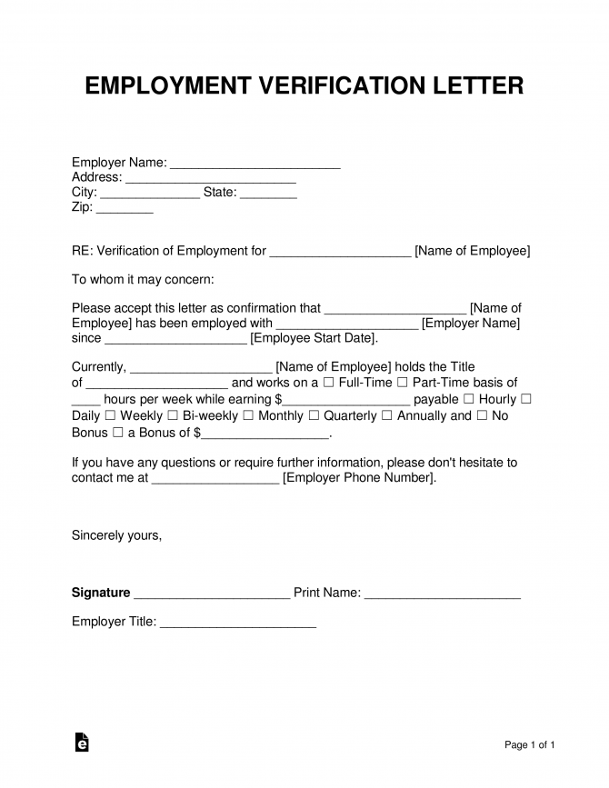 Free Employment Income Verification Letter