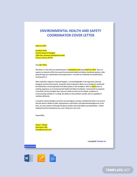 Free Environmental Health And Safety Coordinator Cover Letter