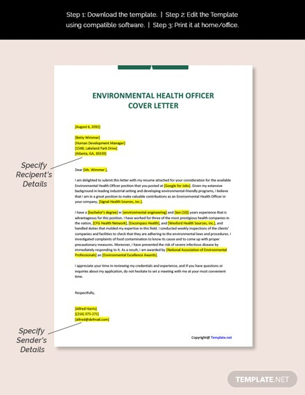 Free Environmental Health Officer Cover Letter