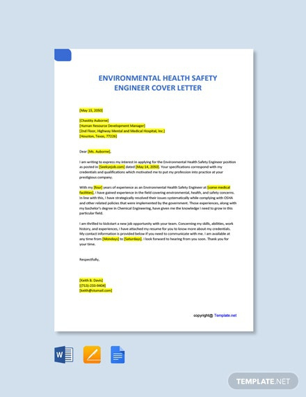 Free Environmental Health Safety Engineer Cover Letter
