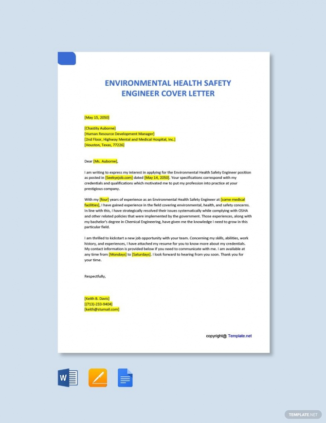 Free Environmental Health Safety Engineer Cover Letter In