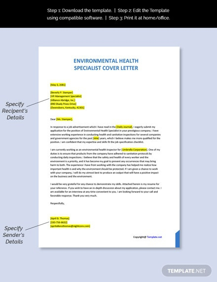 Free Environmental Health Specialist Cover Letter